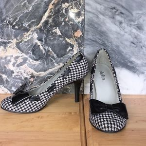 Shoes - Houndstooth, Patent Leather Heels
